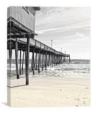 Fishing Pier in Black and White, Canvas Print