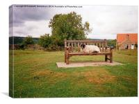 Sheep on bench in Goathland, North Yorkshire Moors, Canvas Print