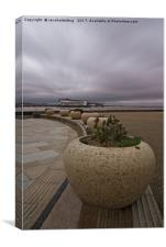 Weston-Super-Mare Seafront View Towards The Grand , Canvas Print