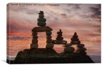 Stone Stack At Sunset, Canvas Print