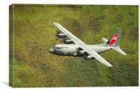 Low Flying Hercules With Special RAF Centenary Tai, Canvas Print