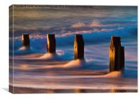 Groynes At Sunrise, Canvas Print