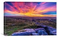Saddle Tor Sunset, Canvas Print