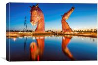 The Kelpies Reflect, Canvas Print