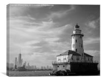 Chicago skyline and lighthouse from Lake Michigan, Canvas Print