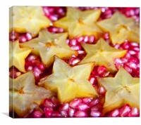 Star fruit and pomegranate, Canvas Print
