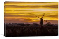 Thurne Windmill Sunset, Canvas Print