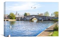 Potter Heigham Bridge with flying ducks, Canvas Print