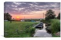 Sunset at Somerton Staithe, Norfolk, Canvas Print