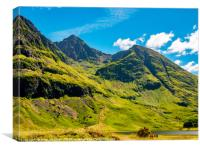 Green and grey above the lochan, Canvas Print
