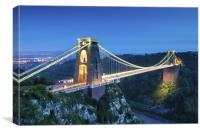 Clifton Bridge, Bristol, UK, evening, Canvas Print