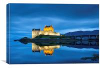 Eilean Donan Castle at twilight, Scotland, Canvas Print