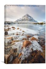 Glencoe and the frozen river Etive, Canvas Print