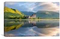 Dawn at Kilchurn castle, Loch Awe, Scotland, UK, Canvas Print