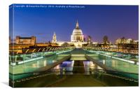 St. Paul's cathedral and Millennium bridge, London, Canvas Print
