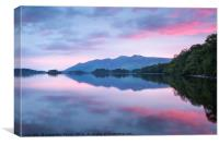 Derwent Water pink sunrise, Canvas Print