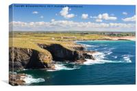 Constantine bay view from Trevose head, Cornwall, Canvas Print