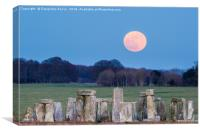 Super Blue Moon is seen rising over Stonehenge sto, Canvas Print