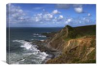 Hartland Quay-Lundy in the distance, Canvas Print