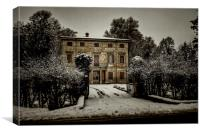 Old country house with snow, Canvas Print