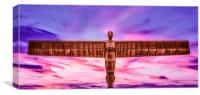 Sunset with the Angel of the North, Canvas Print