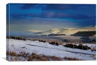 Snowy landscape in the Brecon Beacons, Canvas Print