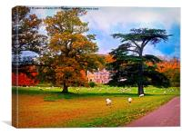 Autumnal View of Dumbleton Hall , Canvas Print