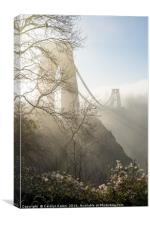 Misty Morning at Bristol's Bridge, Canvas Print