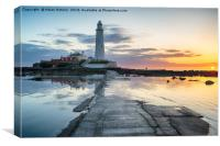 Stunning Sunrise over St Mary's Lighthouse, Canvas Print