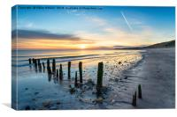 Stunning Sunrise over Sandsend Beach, Canvas Print