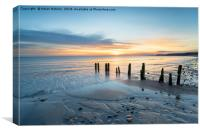 Sunrise at Sandsend Beach in Yorkshire, Canvas Print