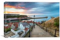 Sunset over Whitby Harbour, Canvas Print