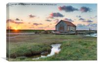 Beautiful Sunset at Thornham Old Harbour, Canvas Print