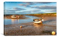Boats on the river estuary at Burnham Overy Staith, Canvas Print