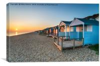 Sunset over Beach Huts, Canvas Print