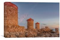 Rhodes Fort of St Nicholas and Windmills, Canvas Print