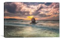 Rhodes Kato Petres Beach and Solitary Rock, Canvas Print