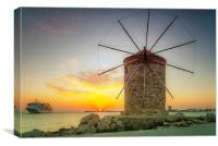Rhodes Windmill and Cruise Ship at Sunrise, Canvas Print