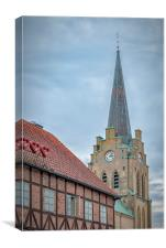 Halmstad Church from Old Town, Canvas Print