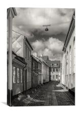 Helsingor Narrow Street in Black and White, Canvas Print