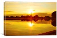 Sun Going Down Over Eaton Park Lake, Canvas Print