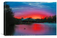 Sunset at Whitlingham Lake, Norwich, U.K, Canvas Print