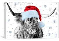 Highland Cow with a Santa hat, Canvas Print