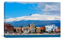 Mount Etna above Giardini Naxos, Canvas Print
