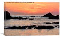 Sunset  at Cobo Bay, Canvas Print