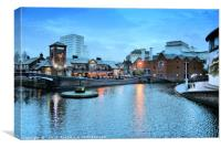 Evening on the Canal Network, Gas Street, Birmingh, Canvas Print