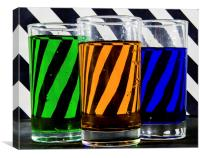 Coloured Water & Stripes, Canvas Print