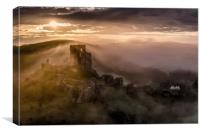 Corfe Castle misty sunrise , Canvas Print