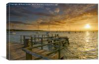 Sunset over Lake pier , Canvas Print