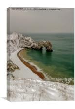 Durdle Door covered in snow , Canvas Print